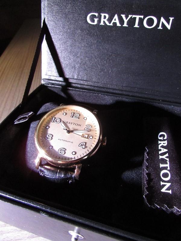 grayton watches or champagne et croco noir