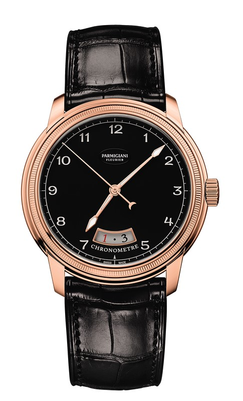 toric chronometre noir et or rouge
