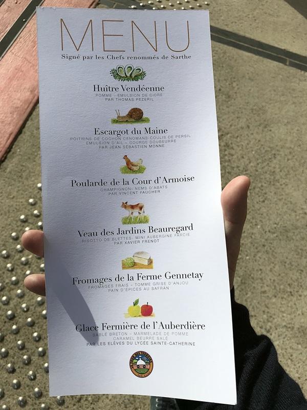 tour des terroirs - le menu